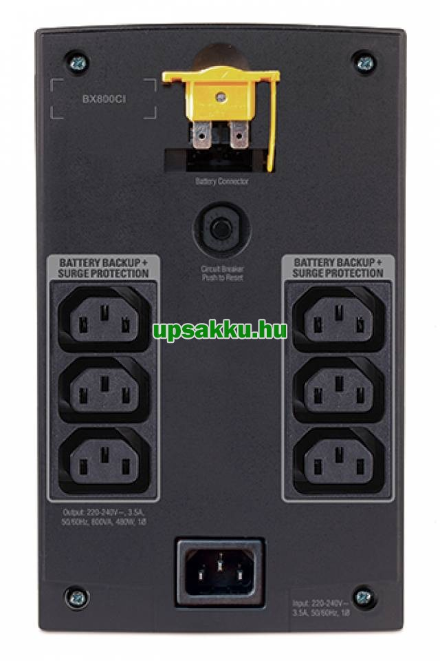 APC Back-UPS BX950UI szünetmentes tápegység - Hátulnézet