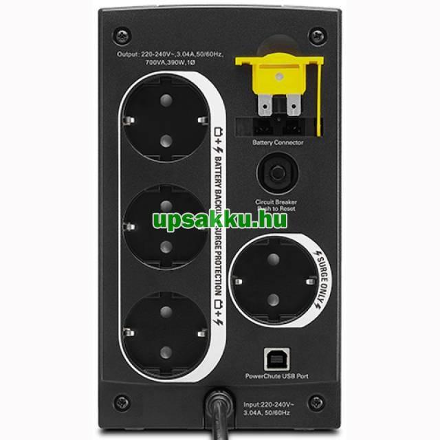 APC Back-UPS BX700U-GR (normál dugós) szünetmentes tápegység - Hátulnézet
