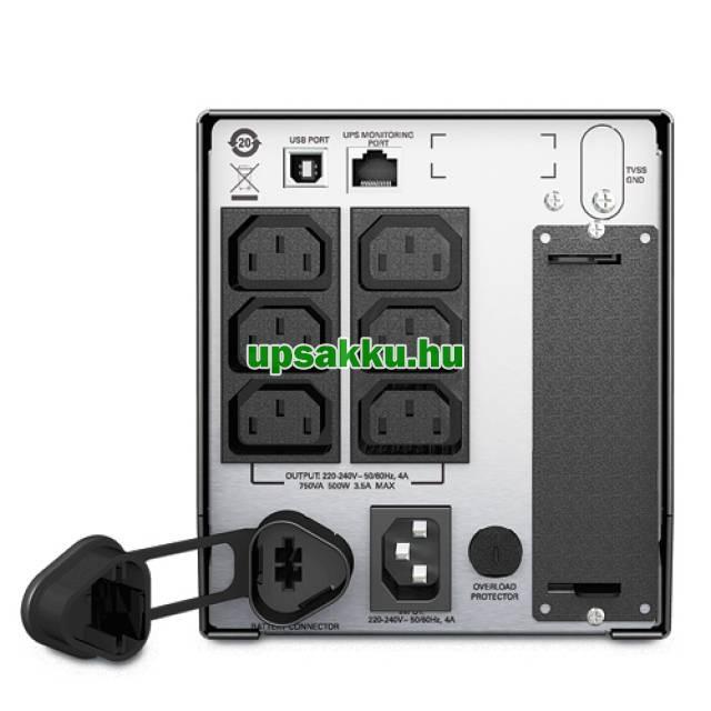 APC Smart-UPS SMT750I LCD szünetmentes tápegység, kiállított - Hátulnézet