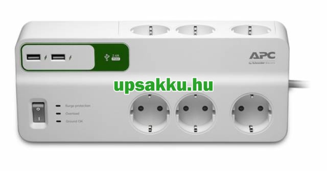 APC PM6U-GR 6-os túlfeszültség-védő-elosztó fehér + USB töltő -