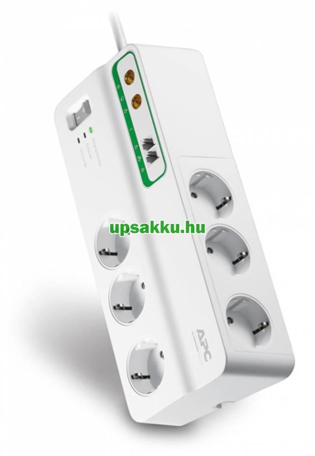 APC PMH63VT-GR 6-os túlfeszültség-védő-elosztó fehér + telefon és koax védelem -