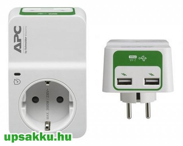 APC PM1WU2-GR 1-es túlfeszültség-védő USB töltővel
