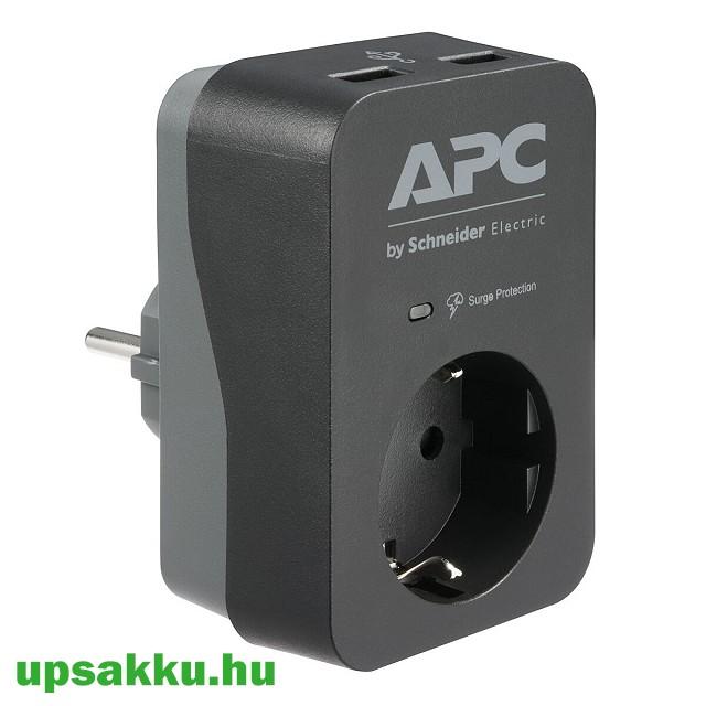 APC PME1WU2B-GR 1-es túlfeszültség-védő (fekete-szürke) USB töltővel